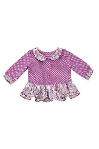 Блузка фиолетовая с рюшью