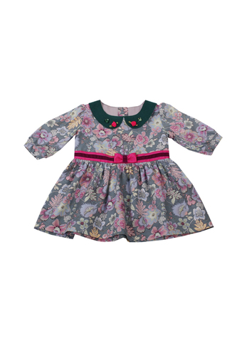 Платье цветочное малахитовое