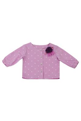 Блузка лиловая в горошек
