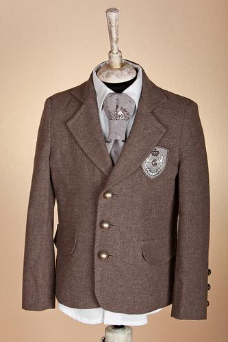 Пиджак коричневый из костюмной фланели с шевроном