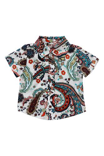 """Рубашка с орнаментом """"яркие огурцы"""""""