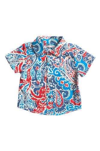 """Рубашка с орнаментом """"сине-красные огурцы"""""""