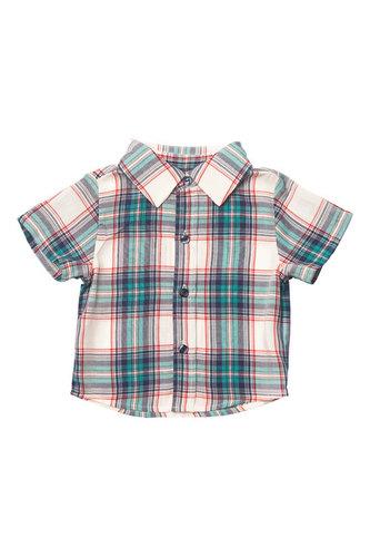 Рубашка с коротким рукавом в изумрудную клеточку