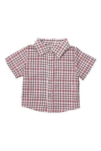 Рубашка с коротким рукавом в серую клеточку