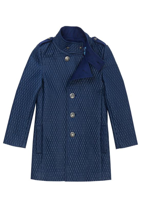 Пальто стеганое синее