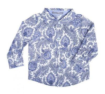 Рубашка с орнаментом голубой огурец