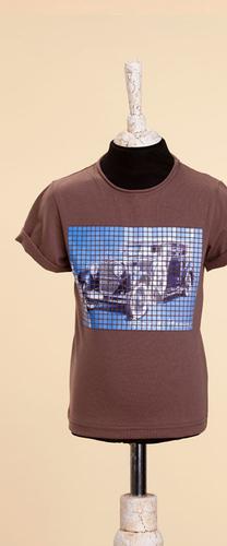 Коричневая футболка с принтом ретроавто Роллс-Ройс