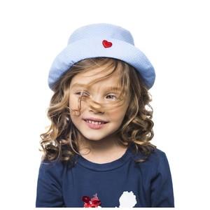 Шляпка голубая в горошек для девочек