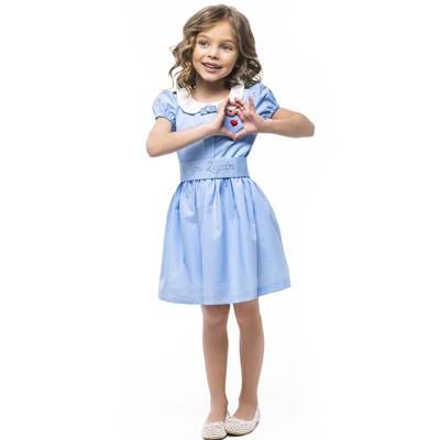 Голубое платье в горошек для девочки