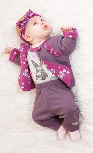 Брюки для малыша темно-лиловые с декором