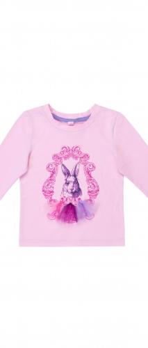 """Розовый лонгслив """"Кролик"""" для девочки"""