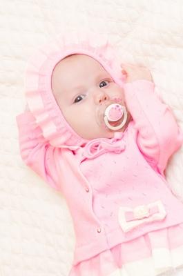 Чепчик нарядный розовый
