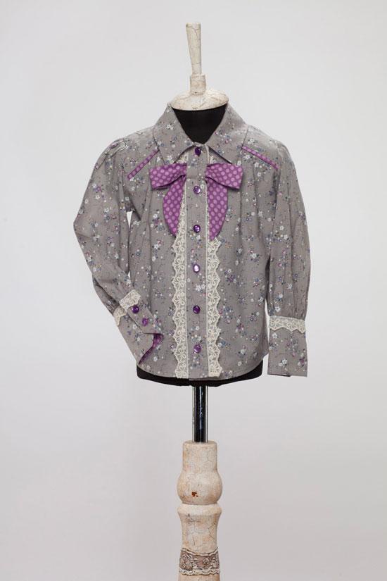 Нарядная блузка «в цветочек» с бантом