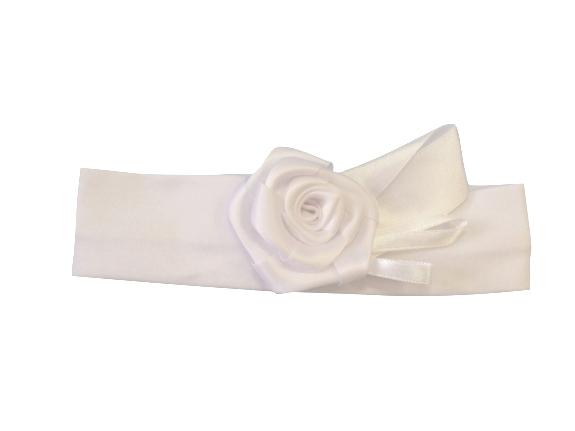 Повязка с розой белая