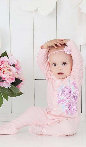 Розовый комбинезон с пионами для девочек the hip
